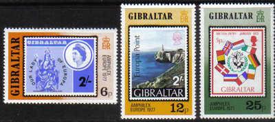 Gibraltar Stamps SG 0390-92 1977 Amsterdam Amphilex 77 Stamp exhibition - M