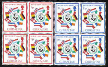Gibraltar Stamps SG 0308-09 1973 Britains entry into the EEC - Block of 4 MINT