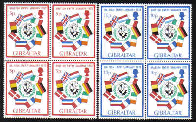 Gibraltar Stamps SG 0308-09 1973 Britains entry into the EEC - Block of 4 M