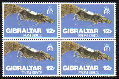 Gibraltar Stamps SG 0398 1978 Gibraltar from space - Block of 4 MINT