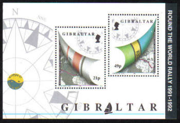 Gibraltar Stamps SG 0681 MS 1992 Round the world yacht rally - MINT