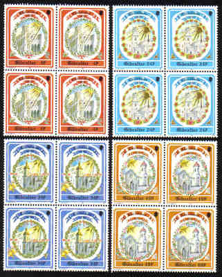 Gibraltar Stamps SG 0686-89 1992 Christmas Churches - Block of 4 MINT