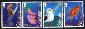 Gibraltar Stamps SG 0968-71 2001 Europa Water and Nature - MINT