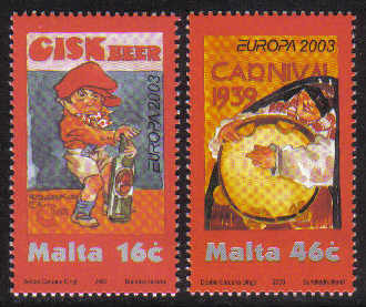Malta Stamps SG 1304-05 2003 Europa Poster Art - MINT