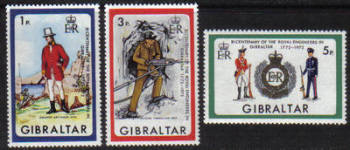 Gibraltar Stamps SG 0297-99 1972 Bicentenary of Royal Engineers in Gibraltar - MINT
