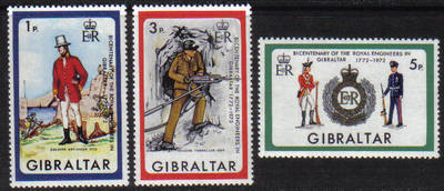 Gibraltar Stamps SG 0297-99 1972 Bicentenary of Royal Engineers in Gibralta