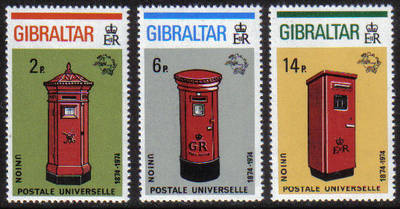 Gibraltar Stamps SG 0325-27 1974 Centenary of UPU - MINT