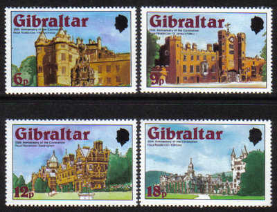 Gibraltar Stamps SG 0400-03 1978 5th Anniversary of the Coronation - MINT
