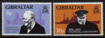 Gibraltar Stamps SG 0337-38 1974 Sir Winston Churchill - MINT