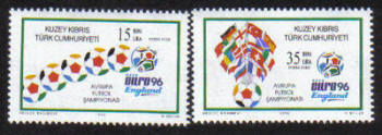North Cyprus Stamps SG 430-31 1996 Euro 96 Football England Seperated- MINT