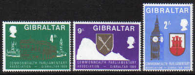 Gibraltar Stamps SG 0233-35 1969 Commonwealth Parliamentary Association - M