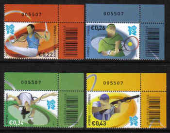 Cyprus Stamps SG 1270-73 2012 London Olympic Games - Control numbers MINT