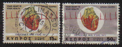 Cyprus Stamps SG 385-86 1972 Heart - USED (g068)