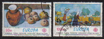 North Cyprus Stamps SG 023-24 1975 Europa Paintings - USED (g094)