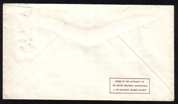 Cyprus stamps SG 172 1953 FDC (back side of cover with part of envelope fla
