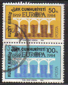 North Cyprus Stamps SG 148-49 1984 Europa Bridge - USED (c306)