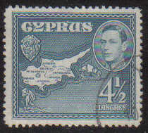 Cyprus Stamps SG 157 1938 KGVI  4 1/2 Piastres - USED (g207)