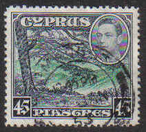 Cyprus Stamps SG 161 1938 KGVI 45 Piastres - USED (g225)