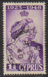 Cyprus Stamps SG 166 1948 Royal Silver Wedding 1 1/2 Piastres - USED (g226)