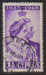 Cyprus Stamps SG 166 1948 Royal Silver Wedding 1 1/2 Piastres - USED (g227)