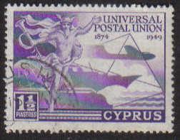 Cyprus Stamps SG 168 1949 KGVI Universal Postal Union 1 1/2 Piastres - USED
