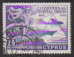 Cyprus Stamps SG 168 1949 KGVI Universal Postal Union 1 1/2 Piastres - USED