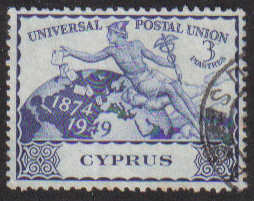 Cyprus Stamps SG 170 1949 KGVI Universal Postal Union 3 Piastres - USED (g2