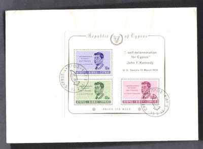 Cyprus Stamps SG 258a MS 1965 John F Kennedy - Unofficial FDC (g242)