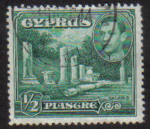 Cyprus Stamps SG 152 1938 KGVI 1/2 Piastre - USED (g151)