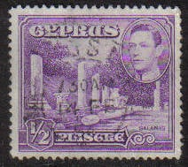 Cyprus Stamps SG 152a 1951 KGVI 1/2 Piastre - USED (g158)
