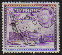 Cyprus Stamps SG 155a 1943 KGVI  1 1/2  Piastres - USED (g190)