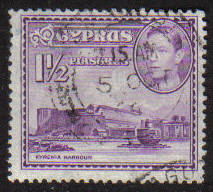 Cyprus Stamps SG 155a 1943 KGVI  1 1/2  Piastres - USED (g191)