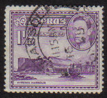 Cyprus Stamps SG 155a 1943 KGVI  1 1/2  Piastres - USED (g192)
