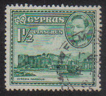 Cyprus Stamps SG 155ab 1951 KGVI  1 1/2  Piastres - USED (g185)