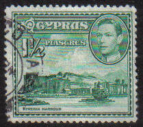 Cyprus Stamps SG 155ab 1951 KGVI  1 1/2  Piastres - USED (g186)