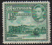 Cyprus Stamps SG 155ab 1951 KGVI  1 1/2  Piastres - USED (g187)