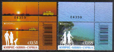 Cyprus Stamps SG 2012 (e) Europa Visit Cyprus Control Numbers - MINT