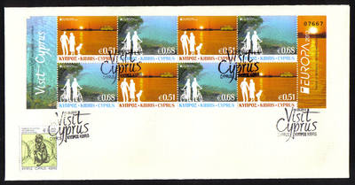 Cyprus Stamps SG 2012 (e) Europa Visit Cyprus Booklet Sheet - Unofficial FD