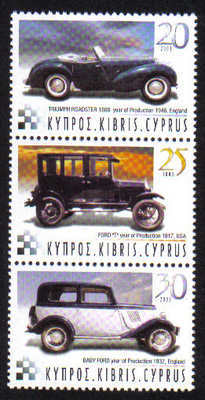 Cyprus Stamps SG 1048-50 2003 Historic motor cars - MINT