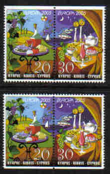 Cyprus Stamps SG 1096-97 2005 Europa Gastronomy Booklet pairs - MINT (g275)