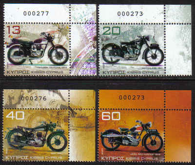 Cyprus Stamps SG 1128-31 2007 Motorcycles Control numbers - MINT (g271)