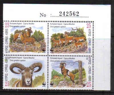 Cyprus Stamps SG 941-44 1998 World Wildlife Fund Mouflon Control numbers -