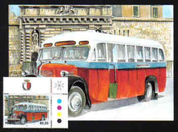 Malta Stamps Maximum Postcard 2011 No 19 Buses Transport With Stamp - MINT