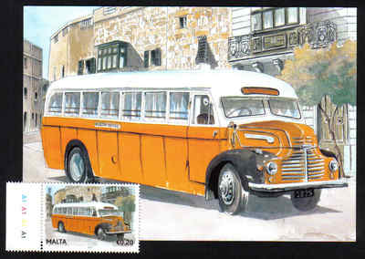 Malta Stamps Maximum Postcard 2011 No 20 Buses Transport With Stamp - MINT