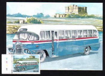 Malta Stamps Maximum Postcard 2011 No 24 Buses Transport With Stamp - MINT