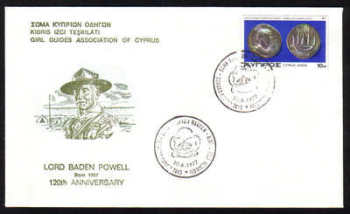 Unofficial Cover Cyprus Stamps 1977 Lord Baden Powell 120th Anniversary from The Girl Guides Association of Cyprus - Cachet (g315)