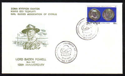 Unofficial Cover Cyprus Stamps 1977 Lord Baden Powell 120th Anniversary fro