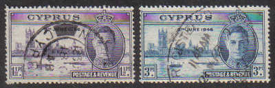 Cyprus Stamps SG 164-65 1946 Victory - USED (g324)