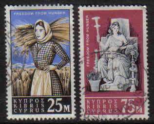 Cyprus Stamps SG 227-28 1963 Freedom from hunger - USED (g352)