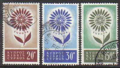 Cyprus Stamps SG 249-51 1964 Europa Flower - USED (g348)